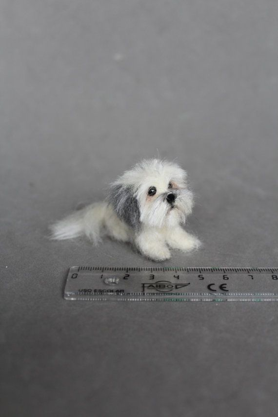 Ready To Ship Needle Felted Miniature Dog Wool Animal Sculpture