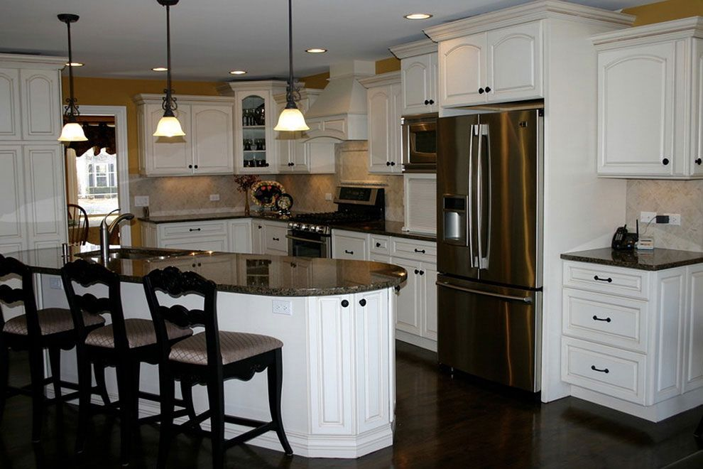 Tropical Brown Granite Kitchen Countertops with White ...