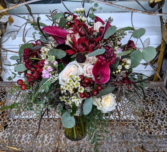 Blush And Burgundy Bouquet #harringtonflowers