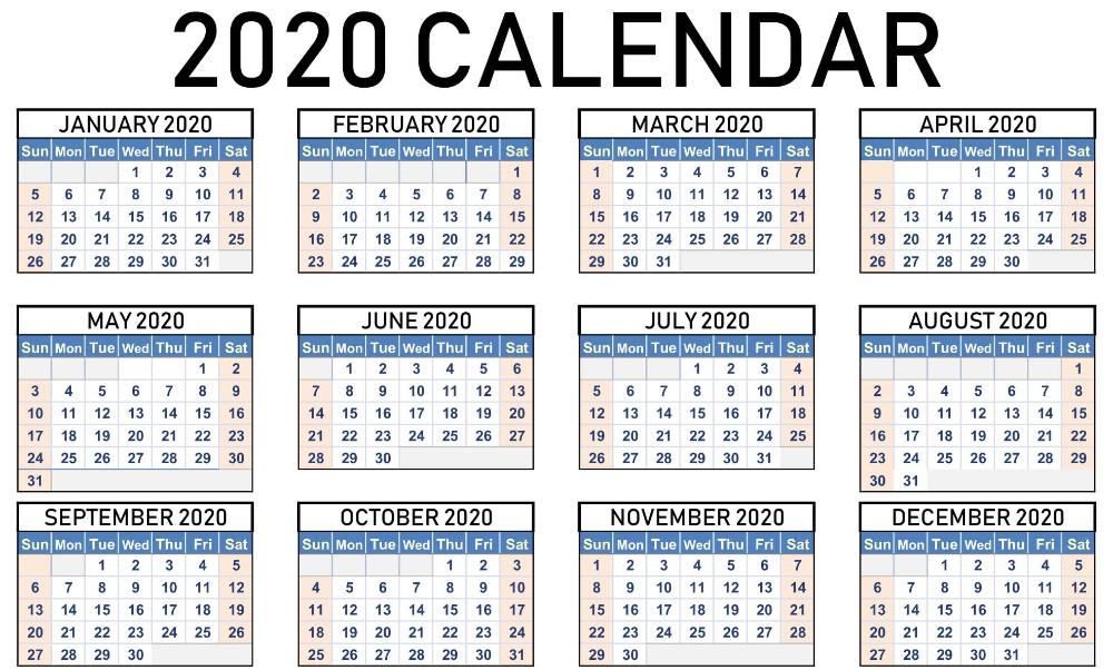 Printable 2020 Calendar Desktop Wallpaper Printable
