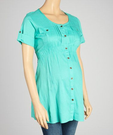 Another great find on #zulily! Blue-Green Maternity Button-Up Tunic - Women #zulilyfinds
