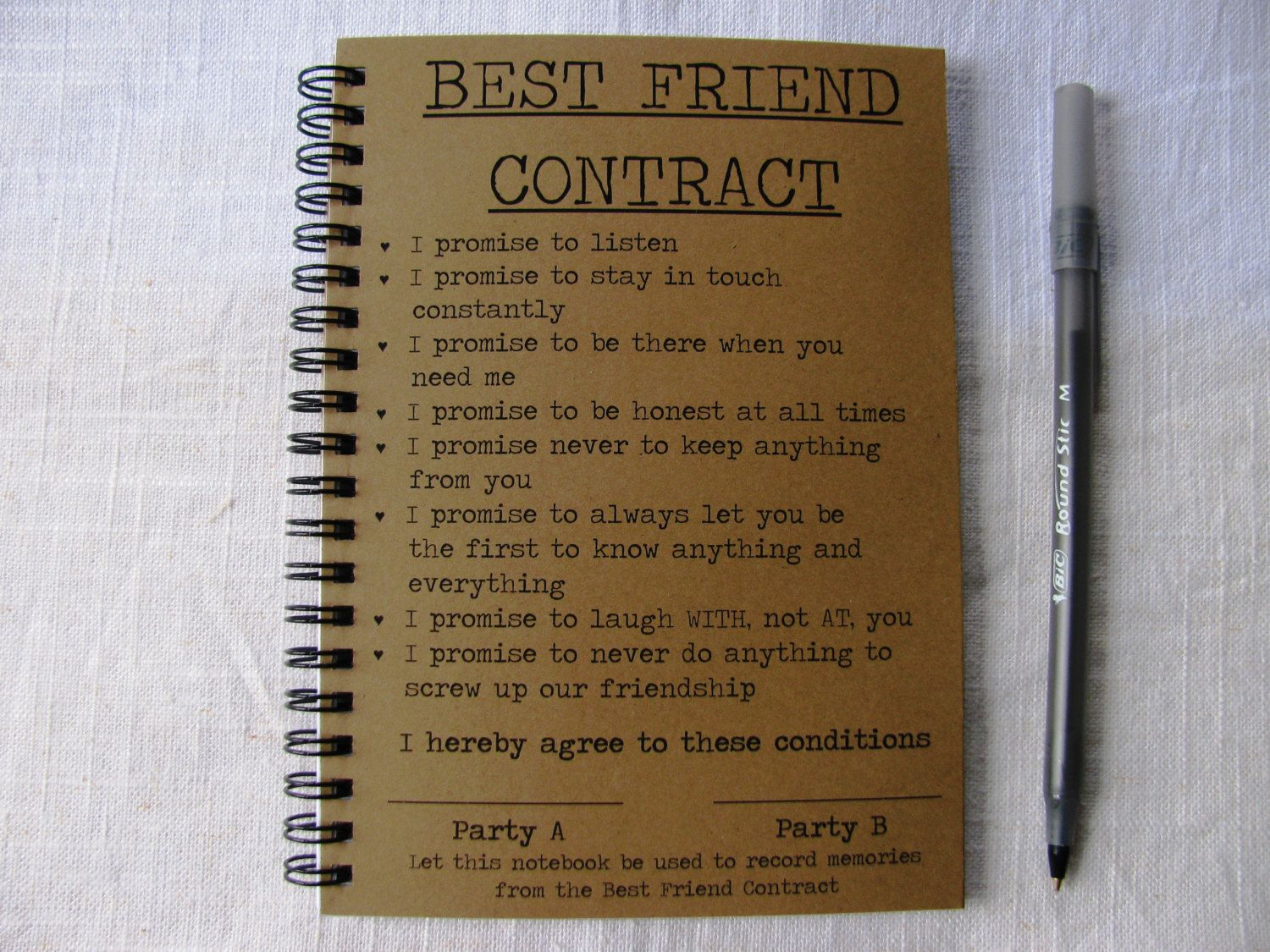 Best friend contract 5 x 7 journal journal etsy and gift best friend contract 5 x 7 journal van journalingjane op etsy thecheapjerseys Gallery