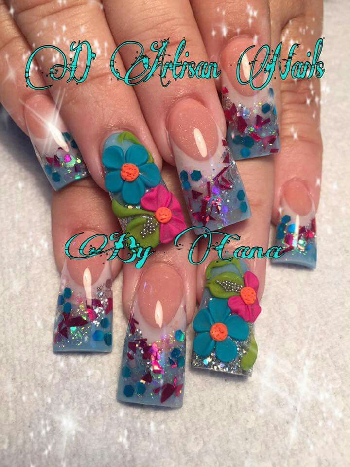 Nail art design ideas | duck feet nails | flare tip nails | for ...