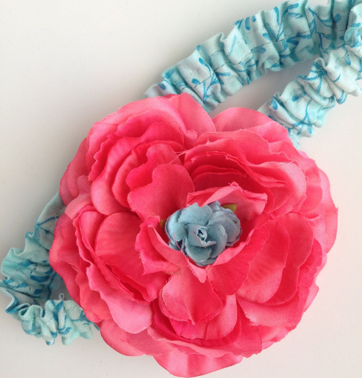 Bright colored fabric flower headband for baby or toddler