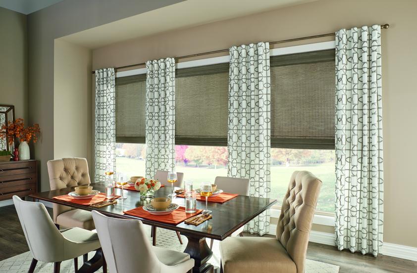 Dining Room Ideas Budgetblinds Patterneddrapery Windowshades Homedecor In 2020 Custom Dining Room Custom Window Coverings Budget Blinds