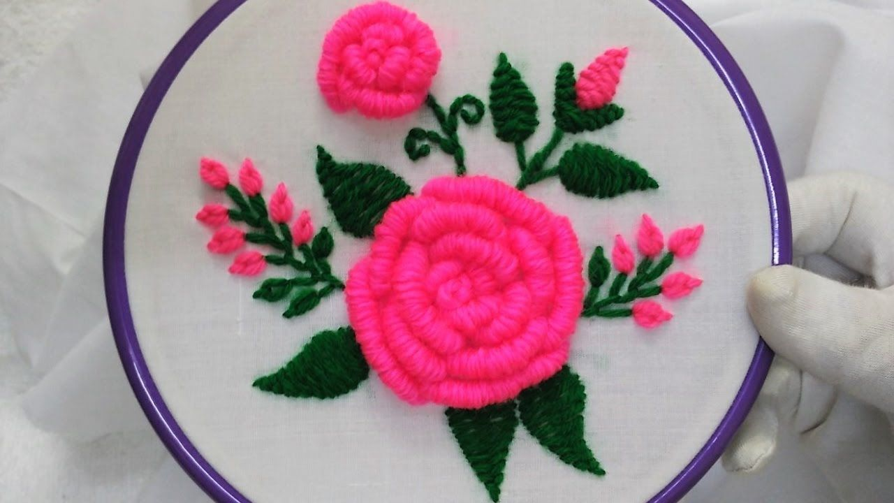 Hand Embroidery Pink Roses With Bullion Knot Stitch Hand Embroidery Flowers Embroidery Designs Rose Embroidery Pattern