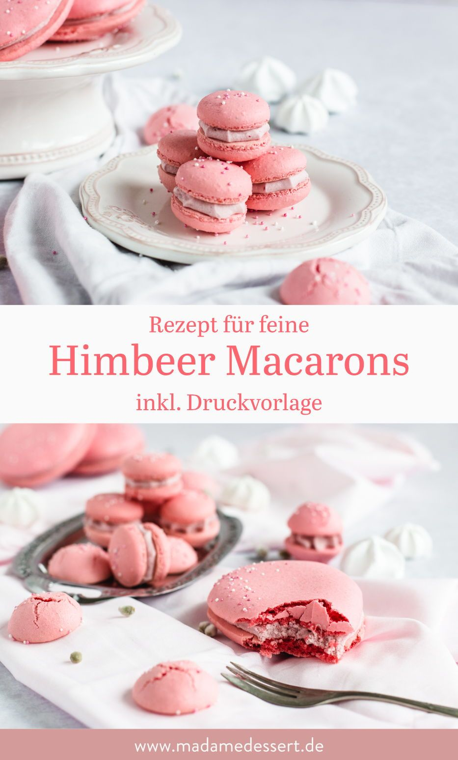 Photo of Rosa Macarons mit Himbeer-Ganache – rund oder in Osterei-Form