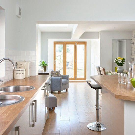 Best Pale Grey Kitchen With Oak Effect Floor Kitchen Decor 400 x 300