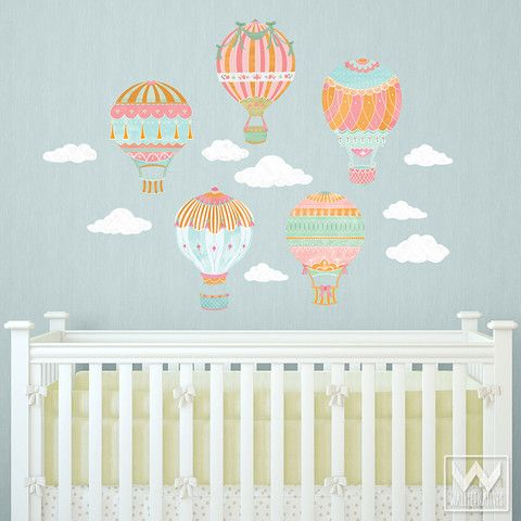 Hot Air Balloons Sky Clouds Wall Print Fabric Wall Decal Nursery Decor Hot Air Balloon Nursery Hot Air Balloon Nursery Decor Nursery Wall Decals