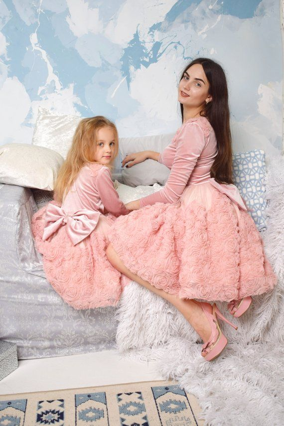 614c88bb501 Mommy and me outfits Photo shoot Roses dresses Mother daughter matching  dress Mother daughter dress