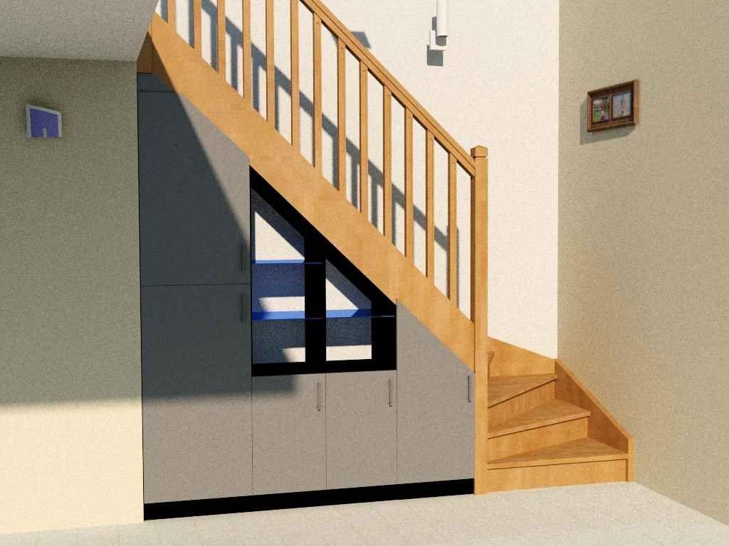 Placard Sous Escalier Sur Mesure: Penderie, Tablettes Verre Pour La Déco,  Portes Affleurantes