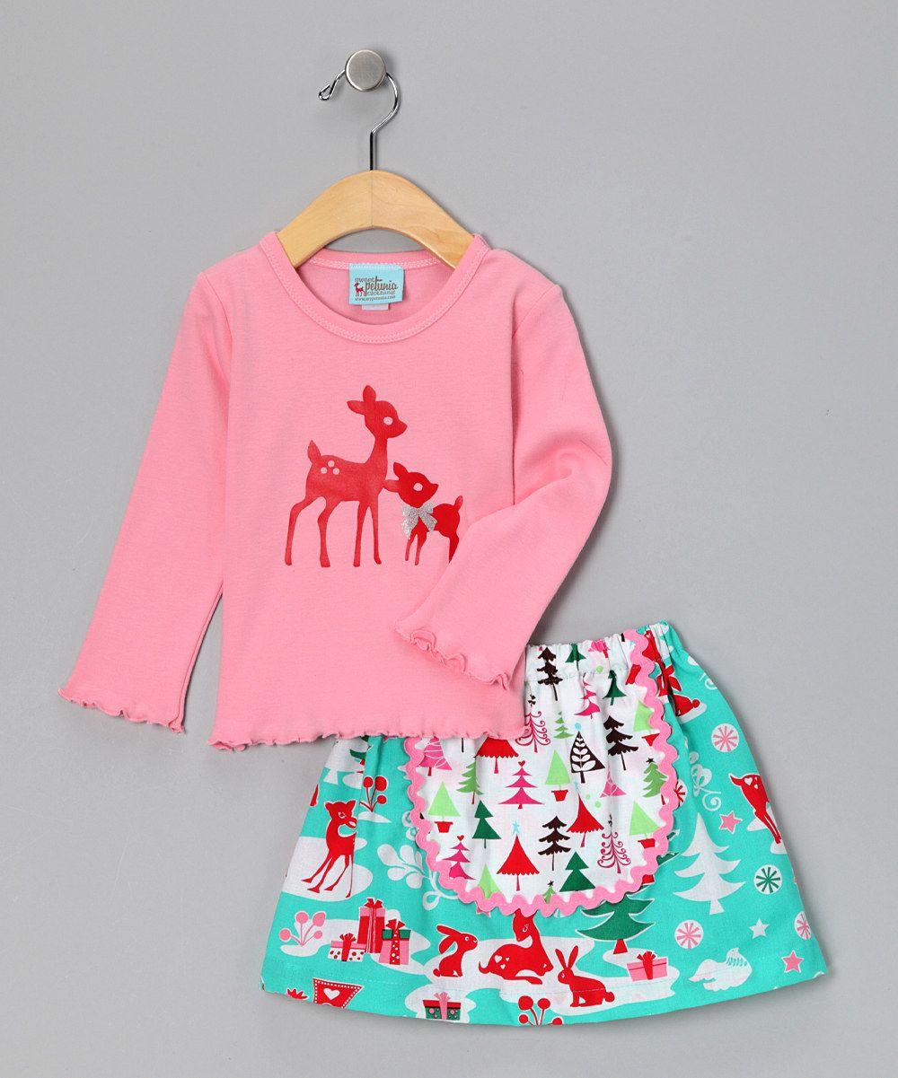 Pink Deer Tee & Skirt - Toddler & Girls