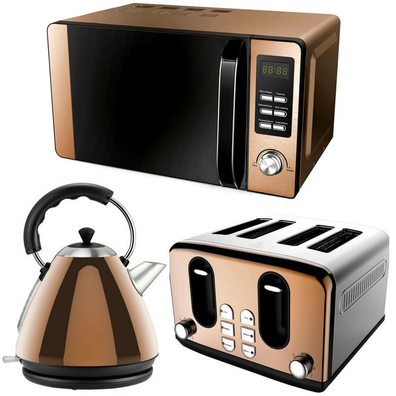 Rose Gold Copper Effect Microwave Pyramid Kettle 4 Slice Toaster Set Kitchen New Rose Gold Kitchen Appliances Copper Kitchen Accessories Rose Gold Kitchen