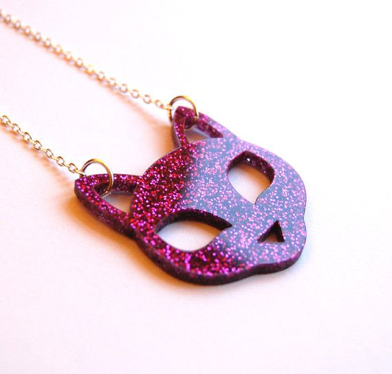 Small Sparkly Cat Face Pendant Necklace LaserCut by KatzeShop