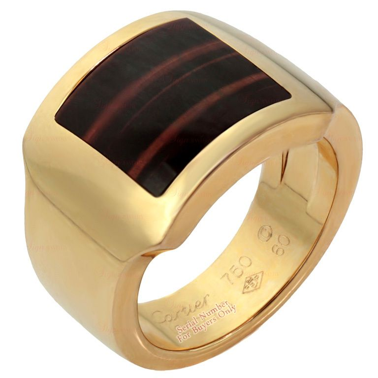 CARTIER Tiger\'s Eye Men\'s Rose Gold Ring | Gold rings, Cartier and ...