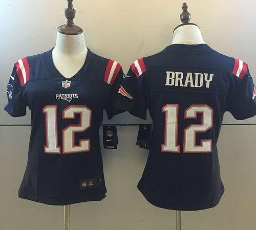 93510eba4eb Women New England Patriots #12 Tom Brady NFL Nike Blue Color Rush Limited  Jersey
