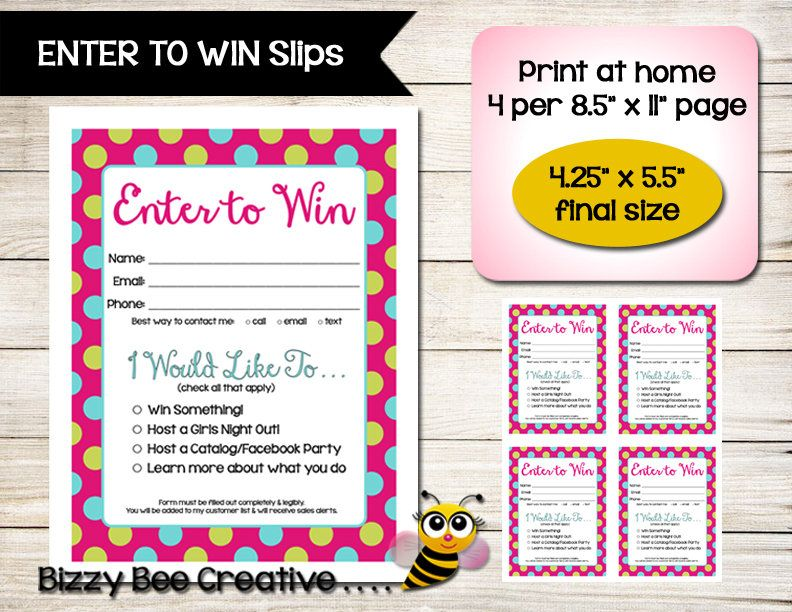Enter To Win | Door Prize Slip | Raffle Ticket | Drawing Form