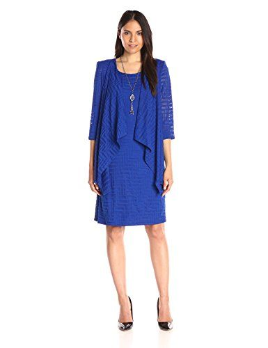 RM Richards Womens 2 Piece Knit Attached Jacket Dress Royal 8 ...