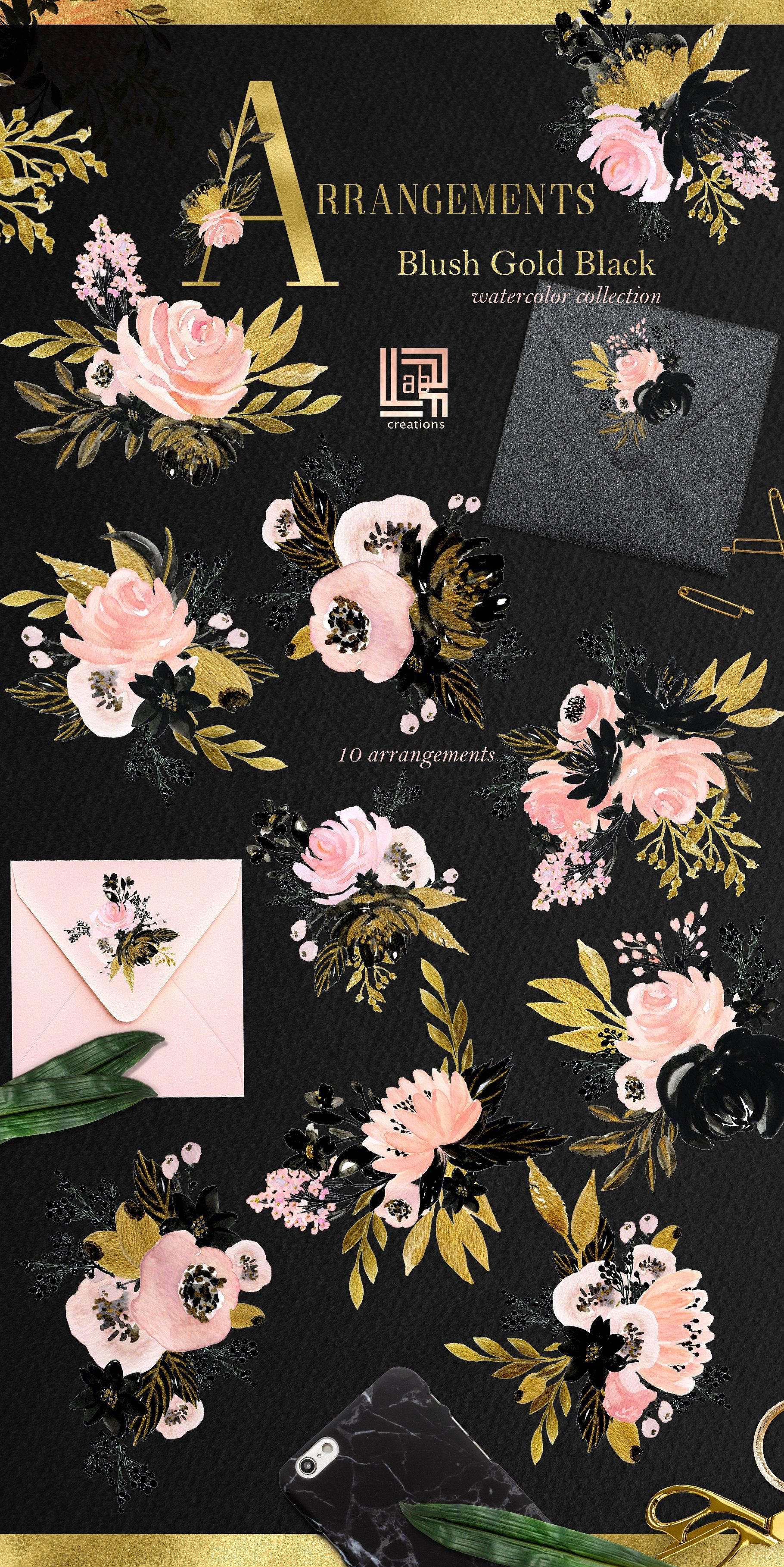 Blush Gold Black. Floral graphics. #painted#element#wedding#watercolour |  Blush and gold, Free graphic design, Graphic design resources