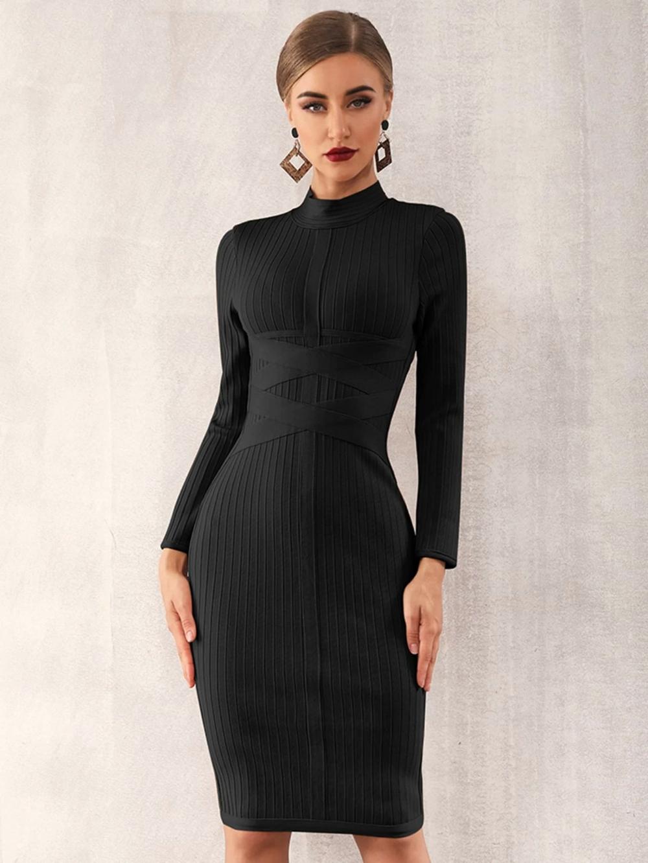 Zip Back Mock Neck Bandage Dress Shein Usa In 2021 Bandage Dress Black Long Sleeve Dress Long Sleeve Midi Dress [ 1332 x 1000 Pixel ]