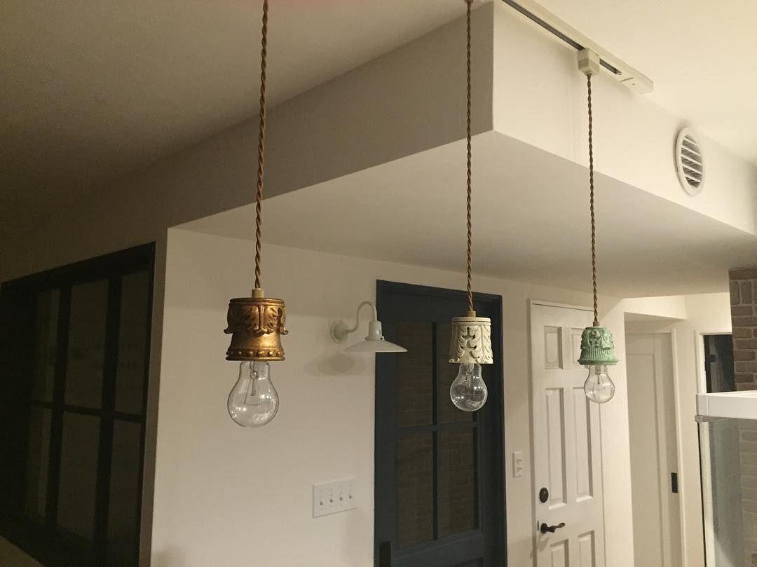 キッチンの照明 アンティーク風の裸電球 点けると眩しい インテリア Carorinsta ペンダントライト 裸電球 アンティーク インテリア ペンダントライト ペンダント