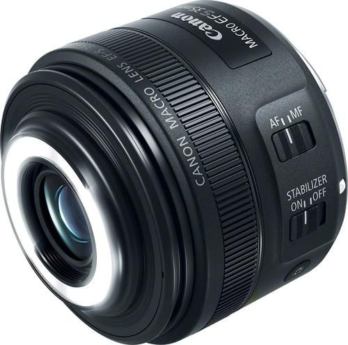 Photograph tiny objects in stunning detail with this Canon 35mm macro lens. This unit has a glass-molded aspherical element and an integrated front-facing Macro Lite LED for extra-crisp shots from as little as 5.1 inches away. Equipped with a versatile EF-S mount, this Canon 35mm macro lens works with a variety of Canon APS-C-format DSLR bodies.