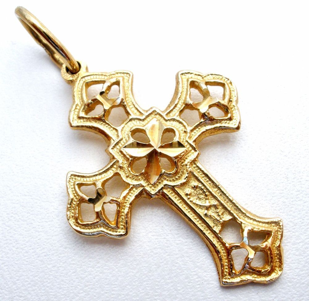 Details about k yellow gold cross charm pendant for bracelet or