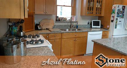 Azul Platino Granite Countertops Fabricated And Installed By Stone Projects Located In Woburn Ma