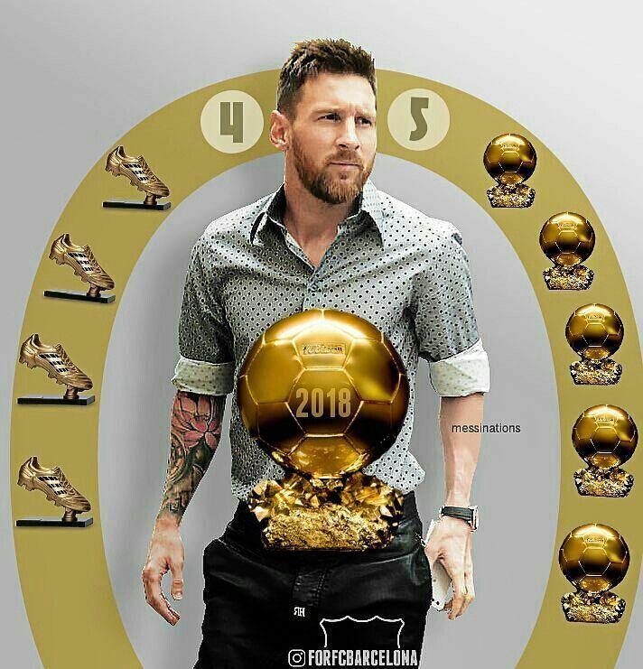 プロサッカー選手メッシと黄金ボール 壁紙