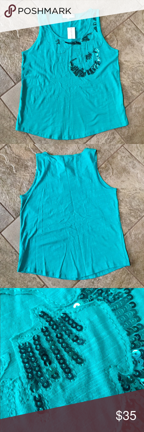 JONES NEW YORK Sequin Tank Top Royal Jade is color name, has sequin detail on the front, super soft & lightweight.  •THIS IS A PETITE LARGE• Jones New York Tops Tank Tops