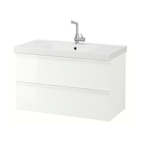 GODMORGON / ODENSVIK Armario lavabo 2 cajones - alto brillo blanco - IKEA