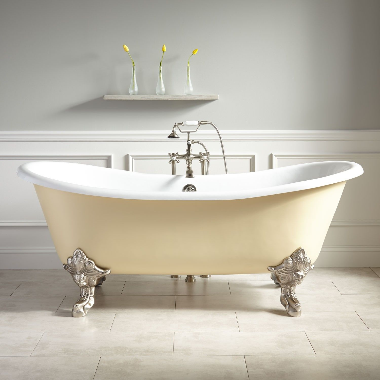 plumbing a clawfoot tub. 72  Lena Cast Iron Clawfoot Tub Monarch Imperial Feet Light Yellow