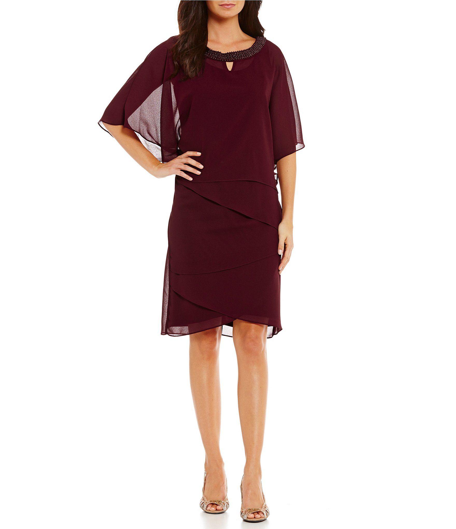 Le Bos Beaded-Neck Capelet 2-Piece Dress