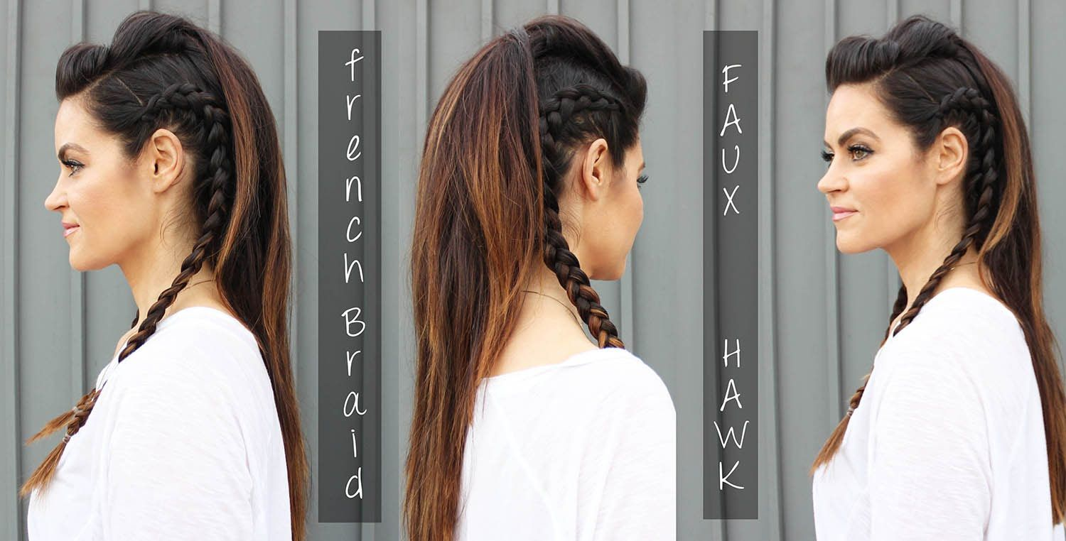 Faux hawk hair tutorial with side braids for long hair my style