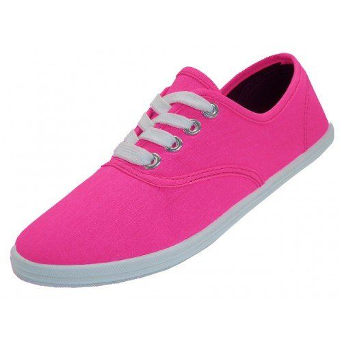 788eb947509a5 Amazon.com: Womens Canvas Plimsoll Shoes Lace up Sneakers (8, White ...
