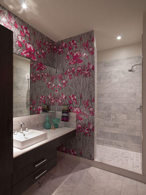 Beau Wallpaper. Using An Art Nouveau Inspired Wallpaper, This Master Bath Uses  Restraint And Wallpaper · Modern Bathroom ...