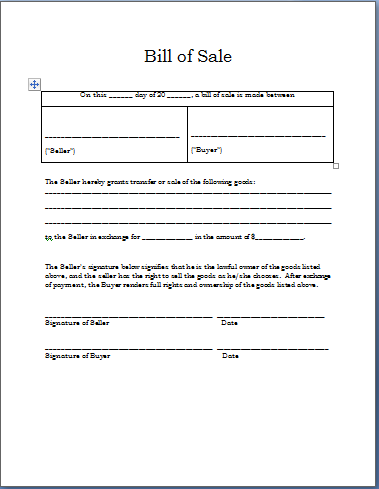 sample bill of sale template free word templates sample of bill