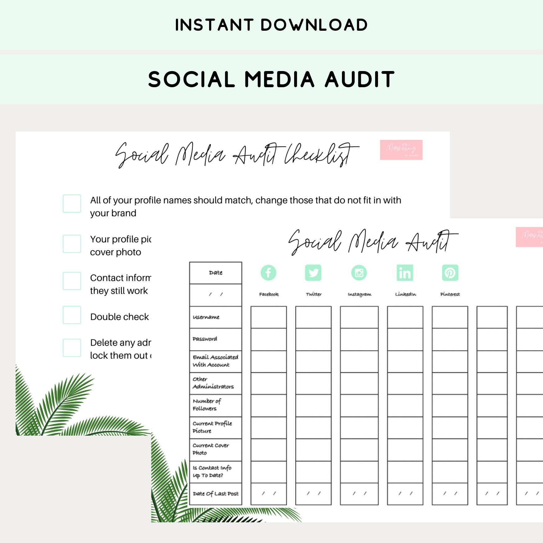 Social Media Audit Worksheet