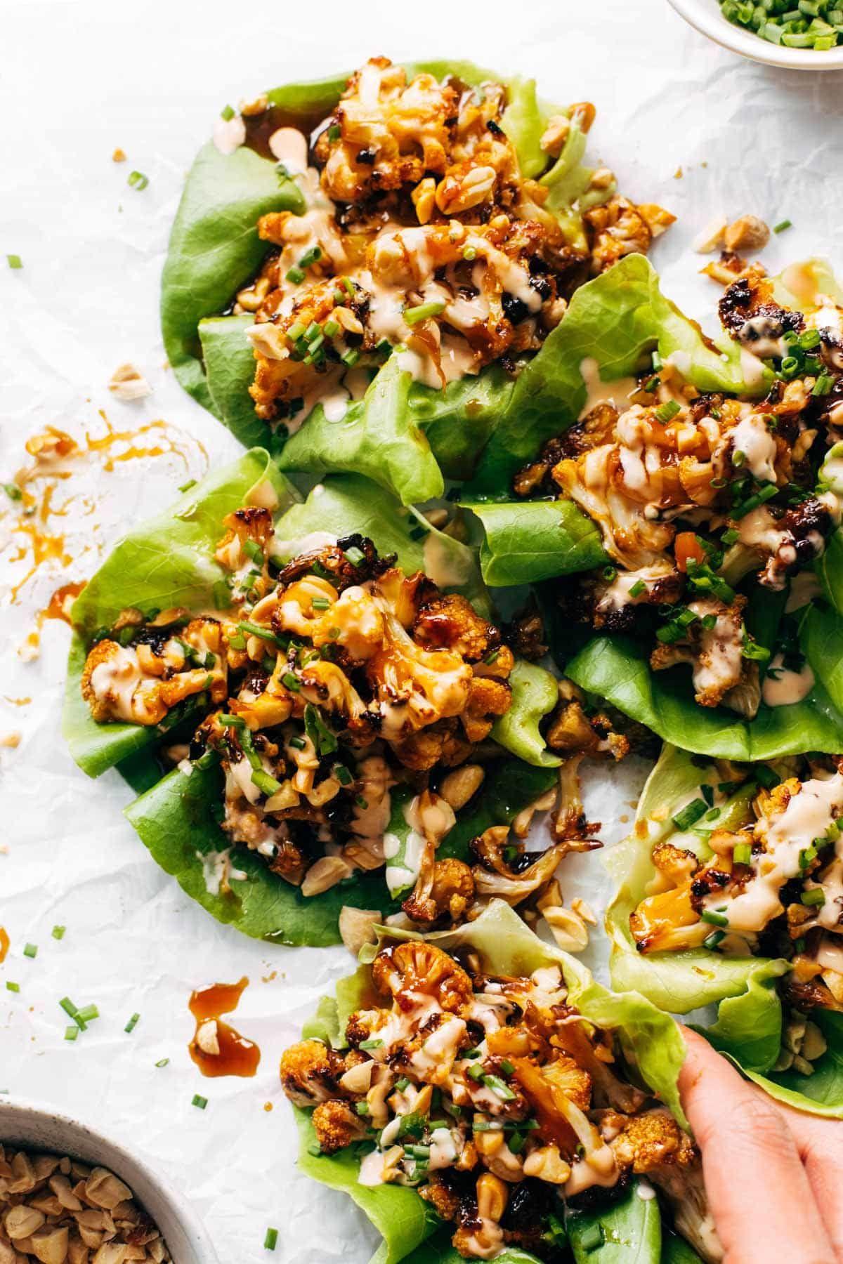 Korean Bbq Style Cauliflower Lettuce Wraps Pinch Of Yum Recipe Healthy Recipes Vegetarian Recipes Food