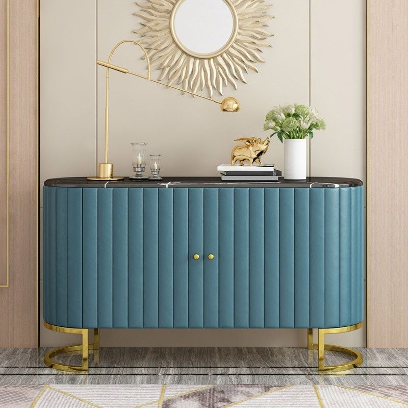 Modern Luxury 2 Door Blue Sideboard With Marble Top Stainless Steel Frame In Gold Cabinet Buffet Table In 2021 Sideboard Designs Sideboard Decor Home Decor