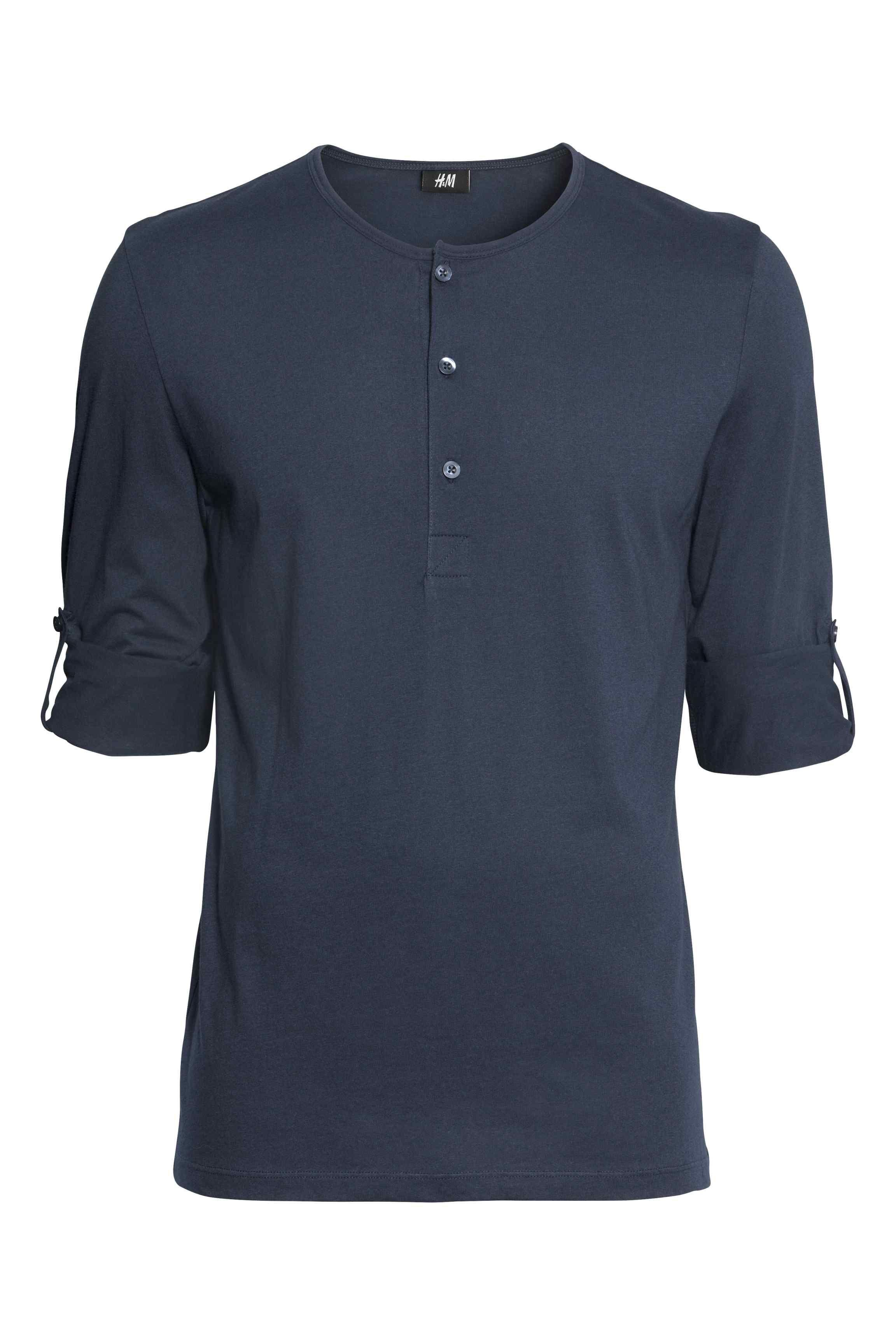 Camiseta con cuello panadero Azul oscuro HOMBRE | H&M ES