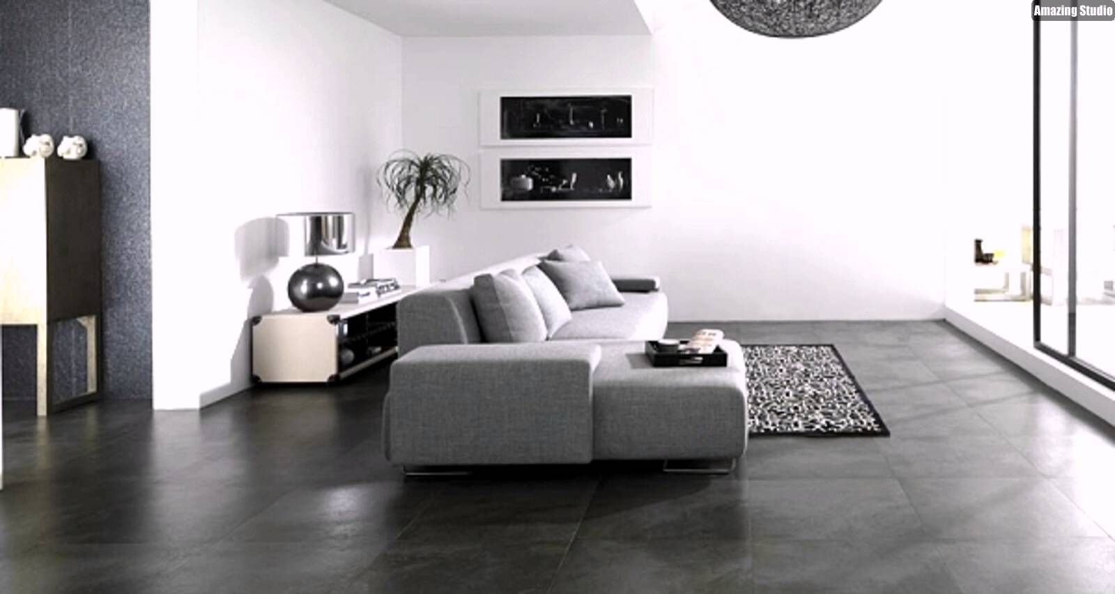 Fliesen Steinoptik Porcelanosa Boden Grau Sofa Wohnzimmer.