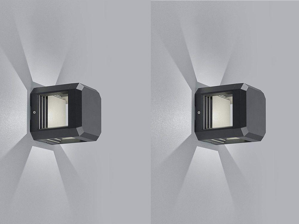 2er Set Led Wegeleuchten Terrassenlampen Aus Alu In Anthrazit Ip65