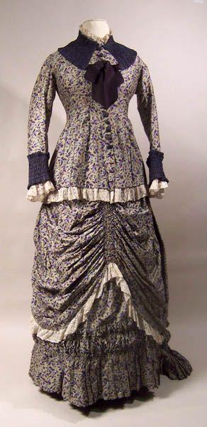 Dress: ca. 1880-1882, cotton, lace, silk.