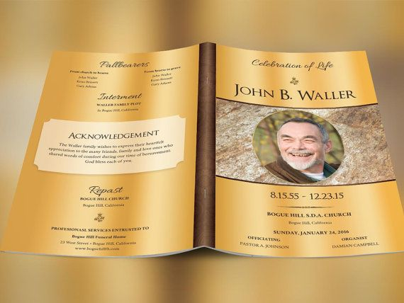 Solid Gold Funeral Program Publisher Template  Program Template