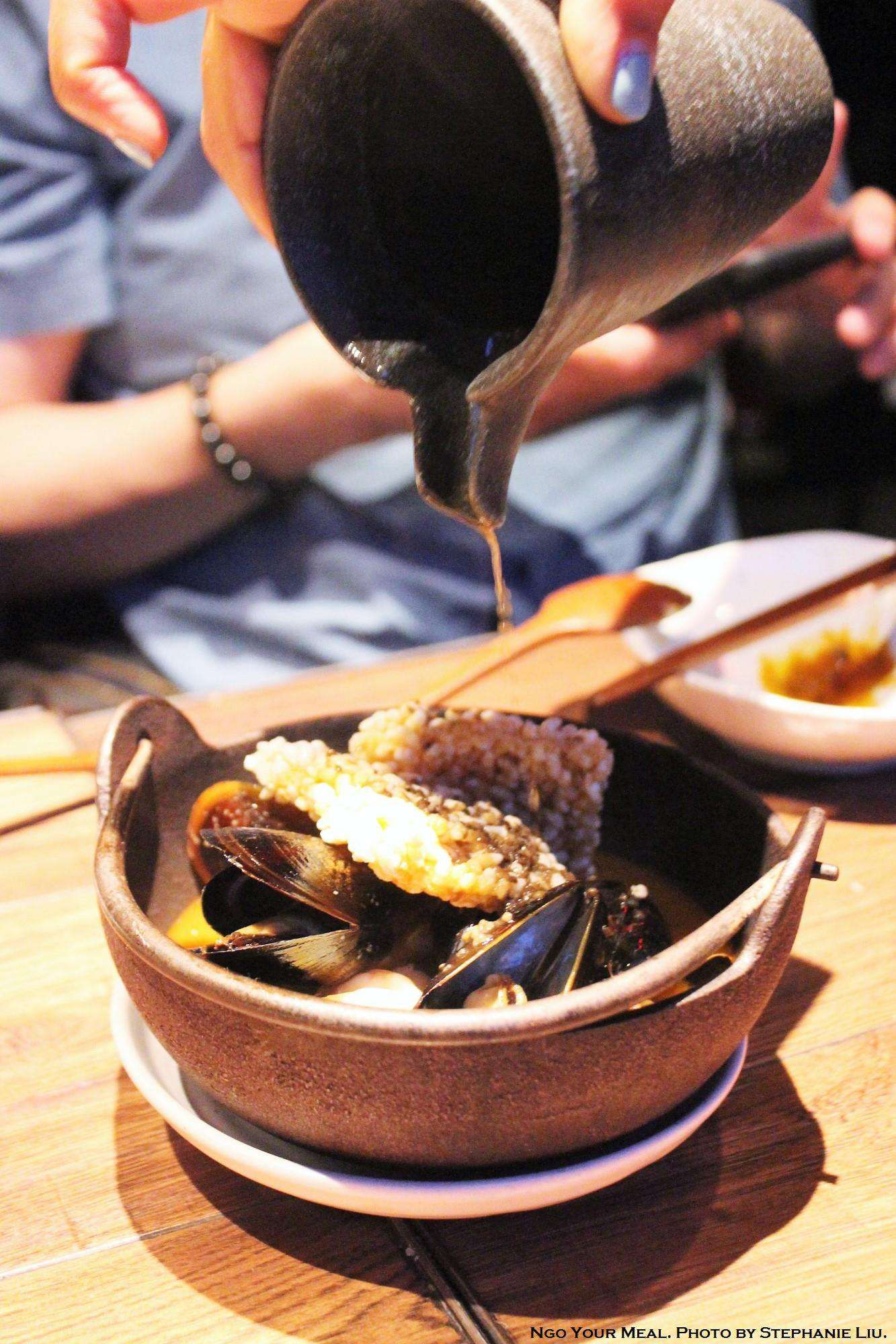 Truffle Seafood Broth With Sizzling Crispy Rice At Oiji In