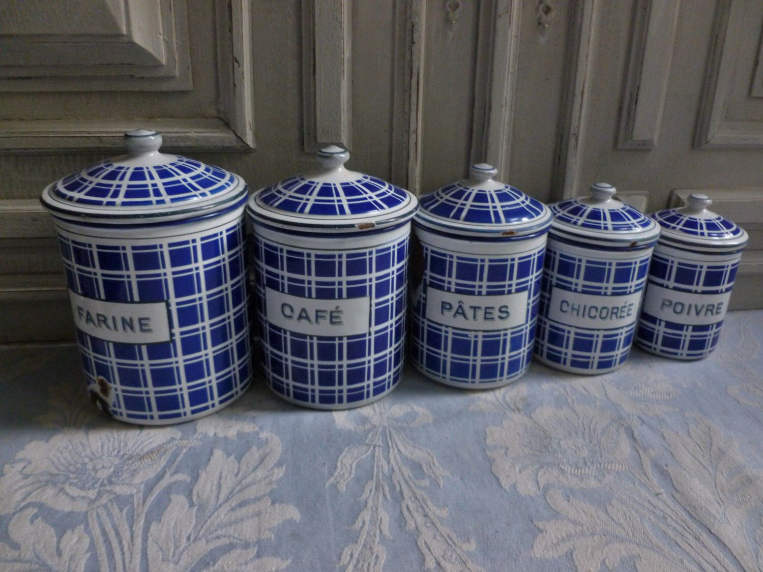 french enamel storage tins beautiful set of 5 vintage kitchen french enamel storage tins beautiful set of 5 vintage kitchen canisters blue and white chequered genuine collectable kitchenalia