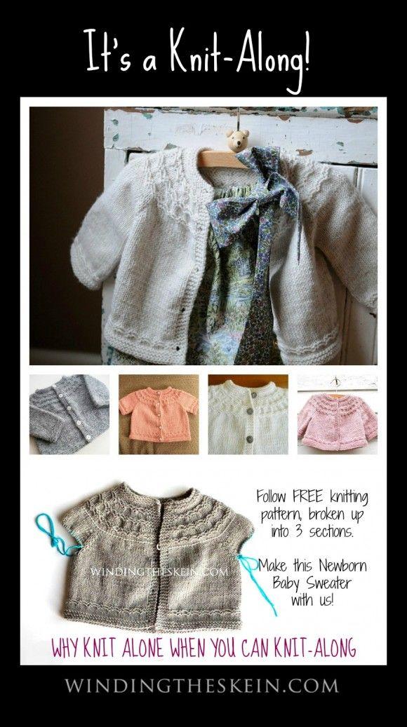 Seamless Yoked Baby Sweater Knit-Along,  Free Knitting Pattern for Babies | www.windingtheskein.com #babysweater #knit #free #pattern #kal