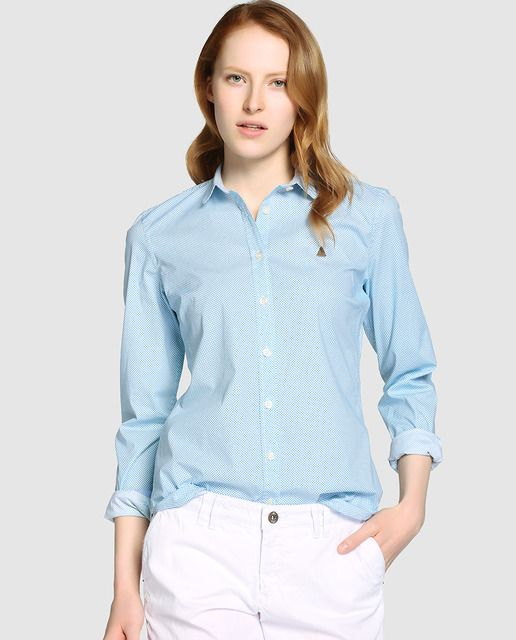 045de567791 Camisa de mujer Gaastra con microdibujo en azul