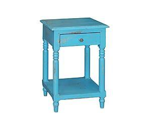 Mesa auxiliar con cajon de madera de pino - azul